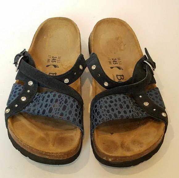796547e67ddc Birkenstock Shoes - Birkenstock Betula Blue Leather Rhinestone Sandals